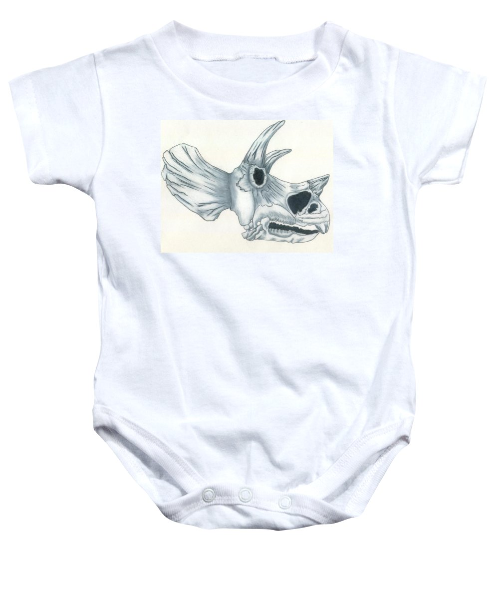 Dinosaur Baby Onesie featuring the drawing Tricerotops Skull by Micah Guenther
