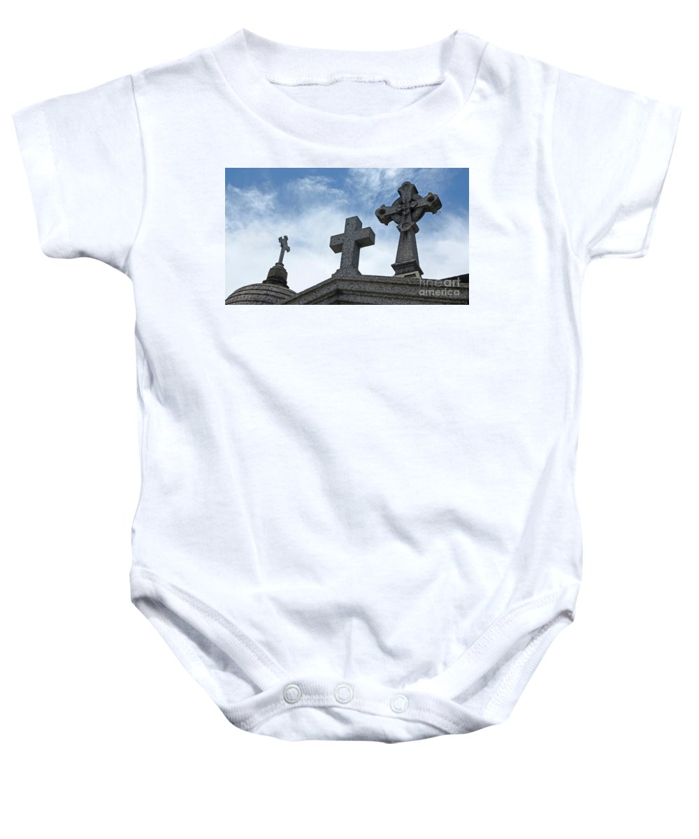 Crosses Baby Onesie featuring the photograph Triple Crosses by Vivian Christopher