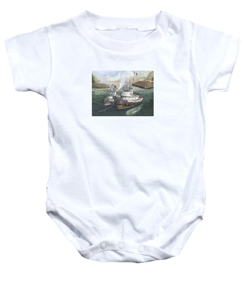 Gale Warning Baby Onesie featuring the painting Gale Warning Safe Harbor by Jack Pumphrey