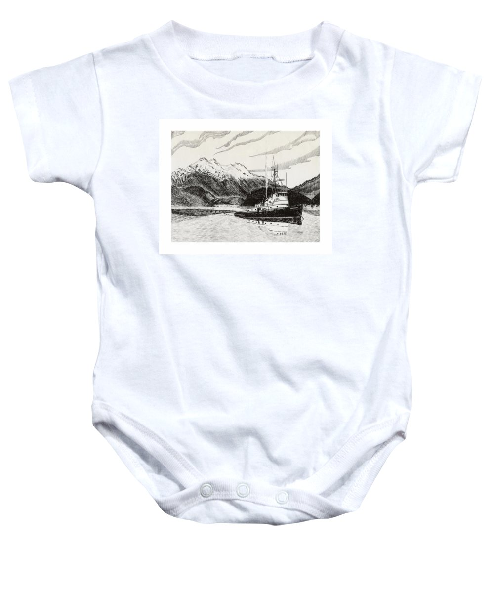 Tugboat Skagit Chief Prints Baby Onesie featuring the drawing Skagit Chief Tugboat by Jack Pumphrey
