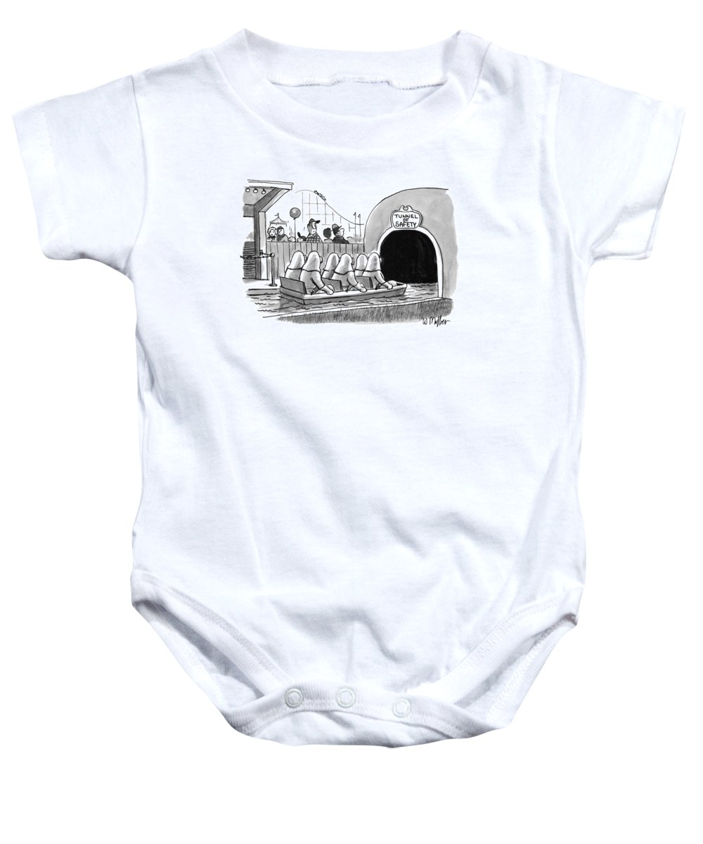 Tunnel Of Safety (amusement Park Water-ride Baby Onesie featuring the drawing Tunnel Of Safety by Warren Miller