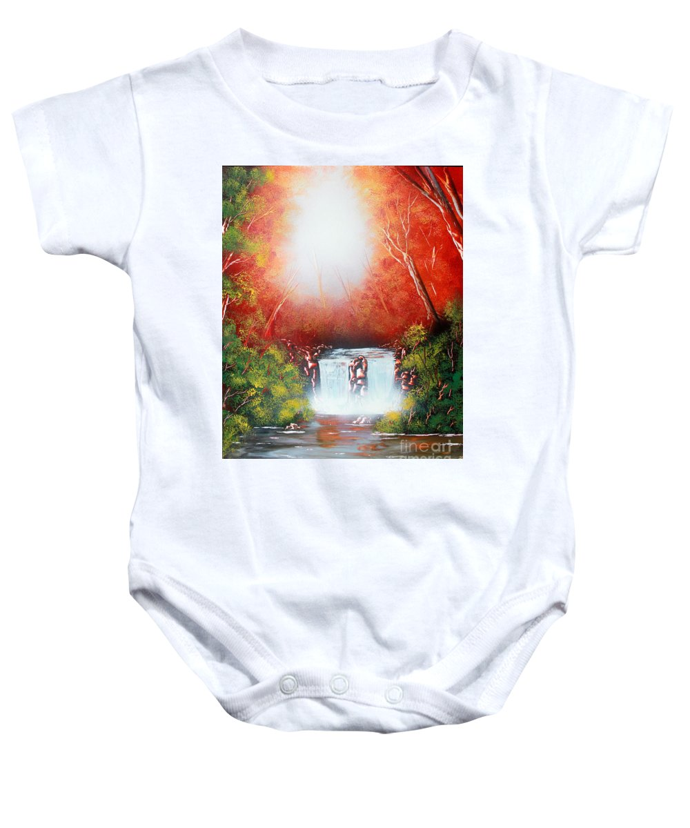 Sundown Baby Onesie featuring the painting Twin Falls by Greg Moores
