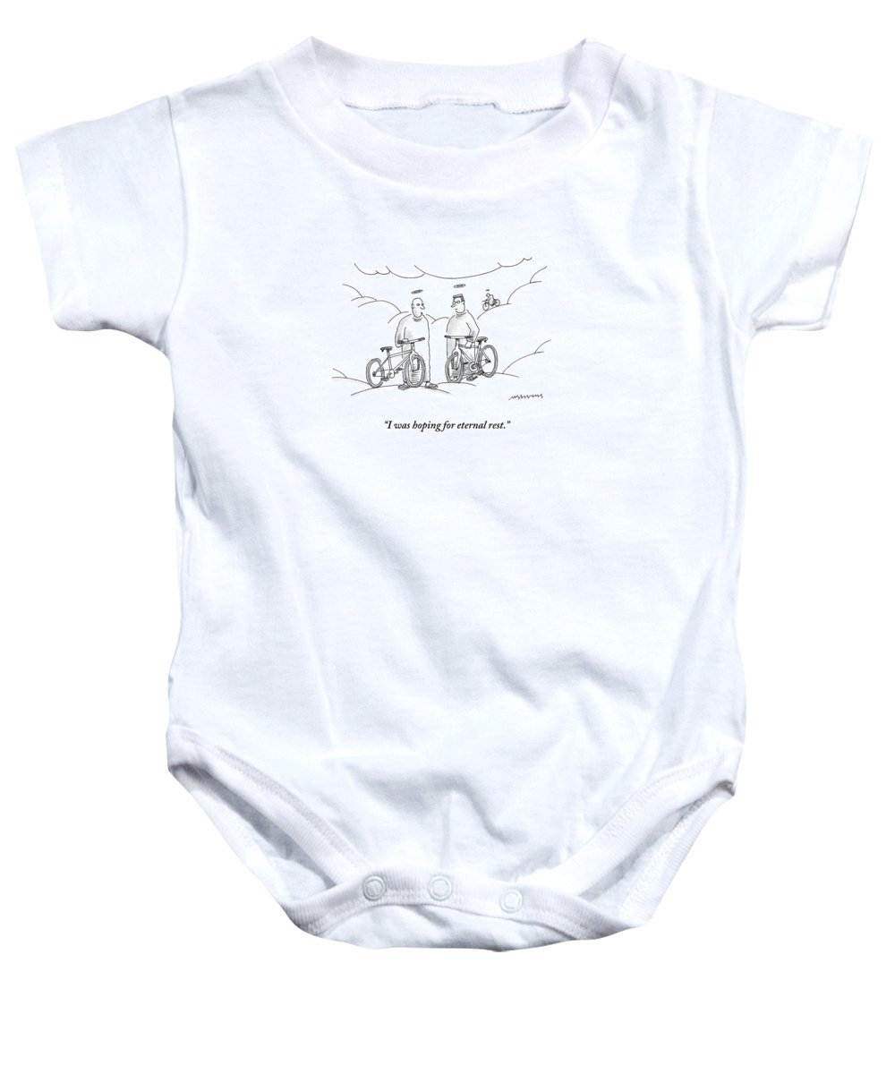 Angels Baby Onesie featuring the drawing Two Angels With Bicycles Converse. Another Angel by Mick Stevens
