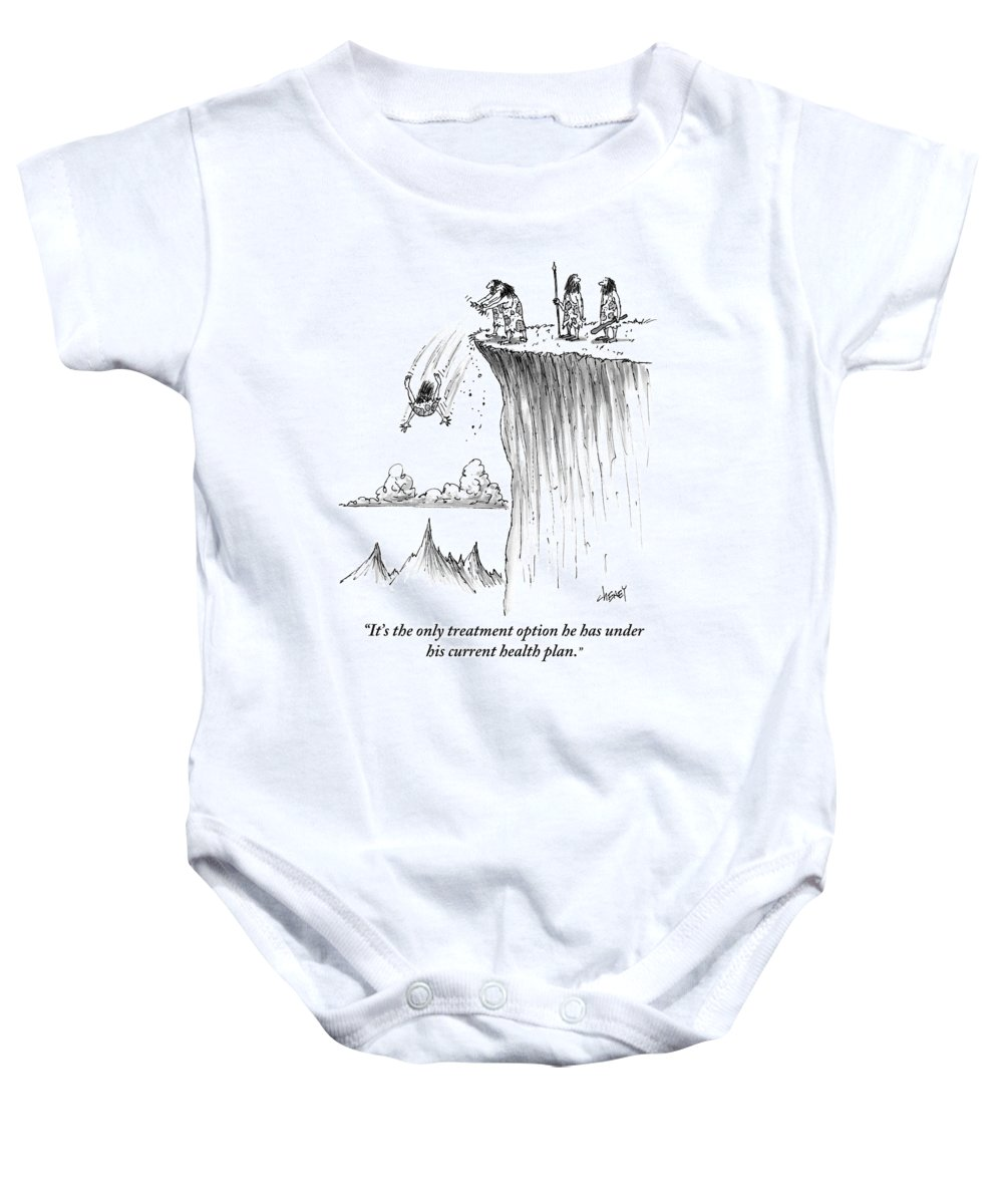 Cavemen Baby Onesie featuring the drawing Two Cavemen Push A Caveman Off A Cliff by Tom Cheney