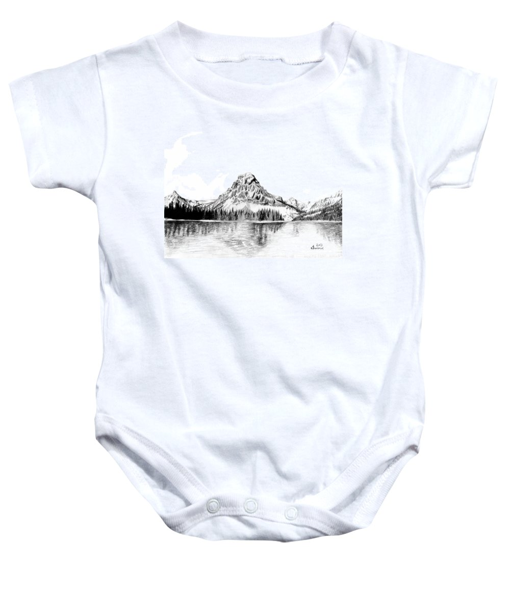 Mountain Baby Onesie featuring the drawing Two Medicine Mountain by Kayleigh Semeniuk