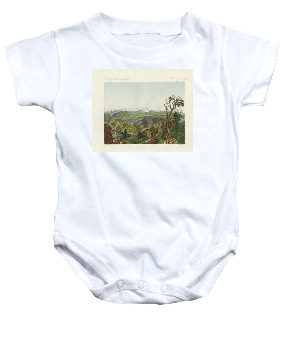 Bertuch Baby Onesie featuring the drawing Two Views Of The Himalayas by Splendid Art Prints