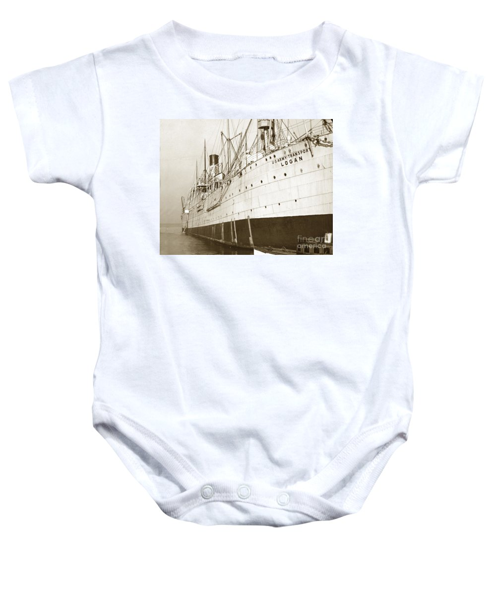 U.s. Army Baby Onesie featuring the photograph U. S. Army Transport Logan San Francisco California 1898 by California Views Archives Mr Pat Hathaway Archives