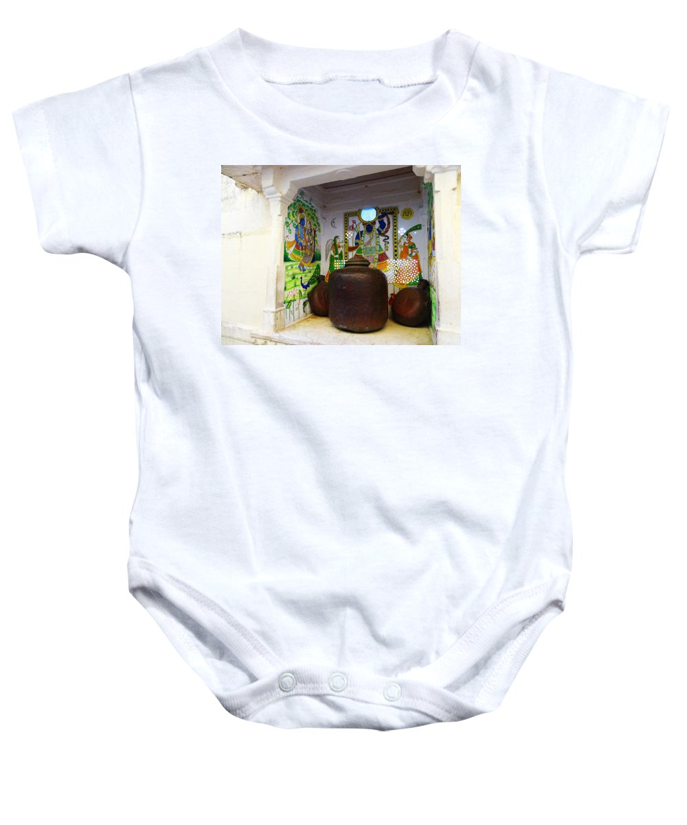 Udaipur City Palace Baby Onesie featuring the photograph Udaipur City Palace Rajasthan India Queens Kitchen by Sue Jacobi
