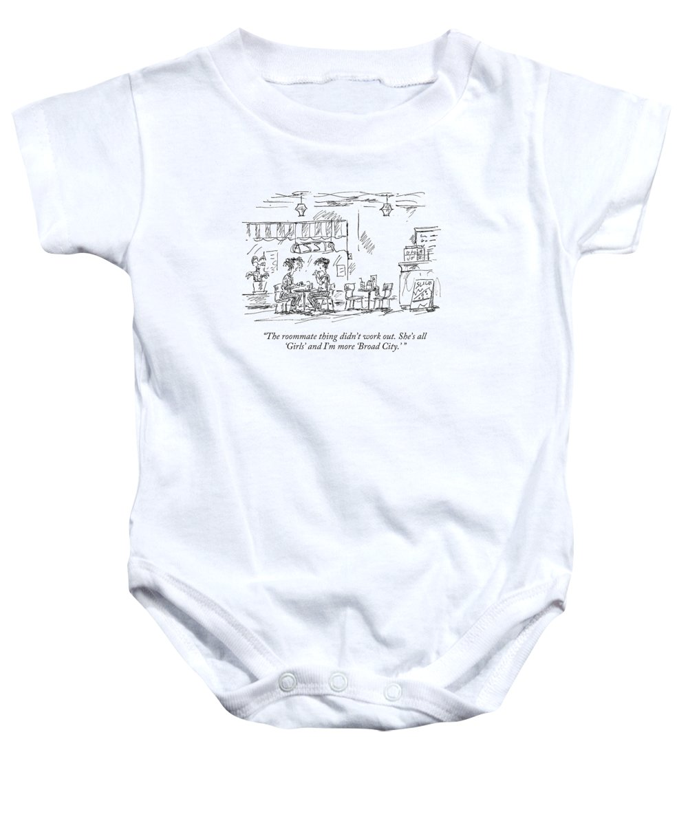 c206afdce #condenastnewyorkercartoon Baby Onesie featuring the drawing The Roommate  Thing Didn't Work Out.