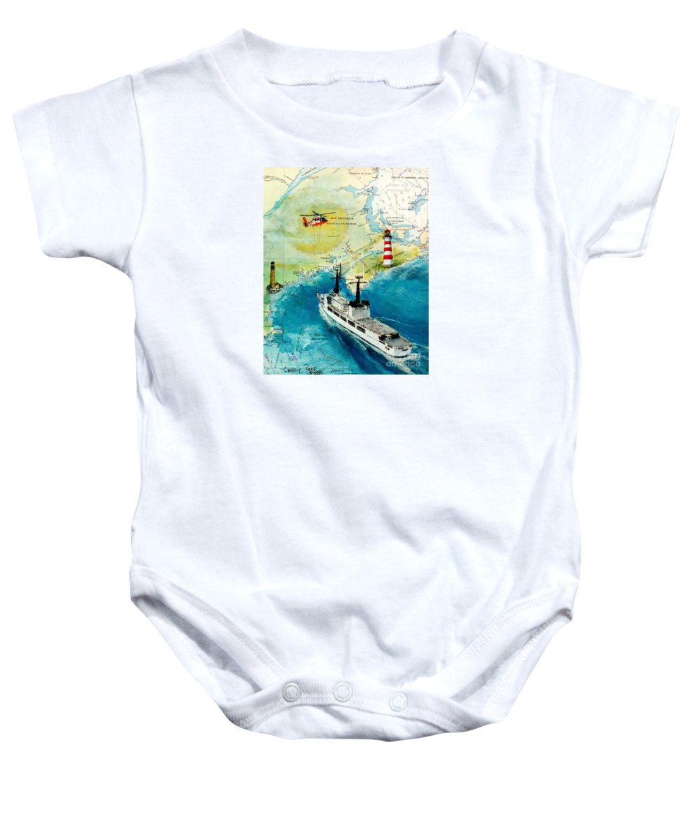 United Baby Onesie featuring the painting Uscg Chase Helicopter Chart Map Art Peek by Cathy Peek