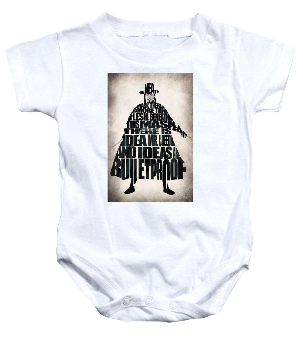 Vendetta Baby Onesie featuring the digital art V For Vendetta by Inspirowl Design