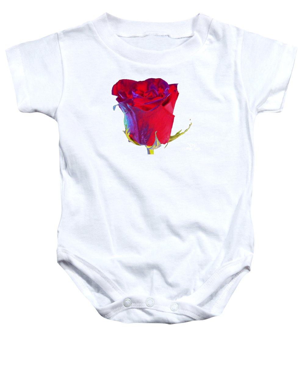 Velvet Baby Onesie featuring the digital art Velvet Rose Bud 2 by Carol Lynch