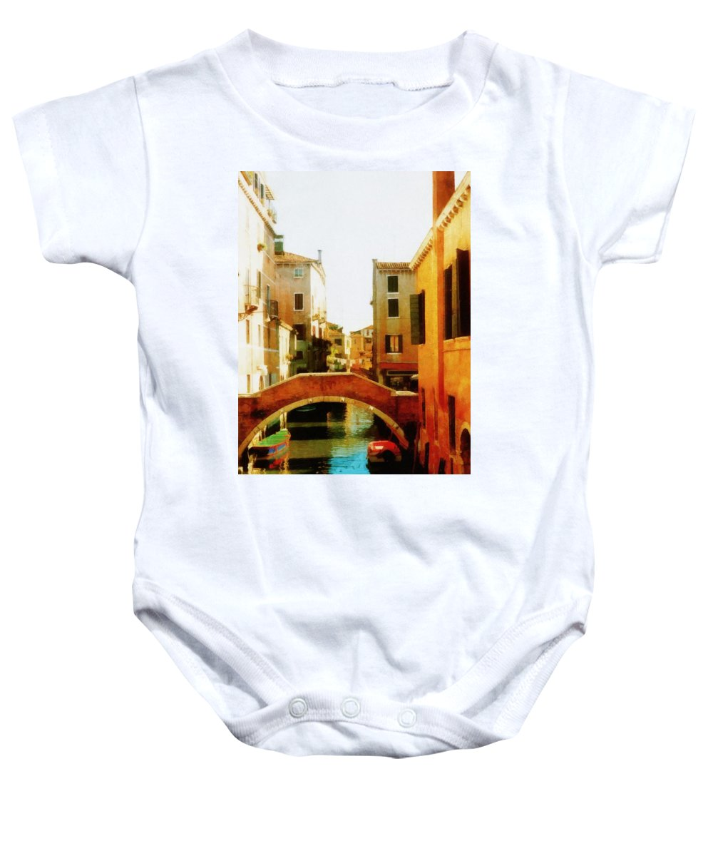 Venice Baby Onesie featuring the photograph Venice Italy Canal With Boats And Laundry by Michelle Calkins