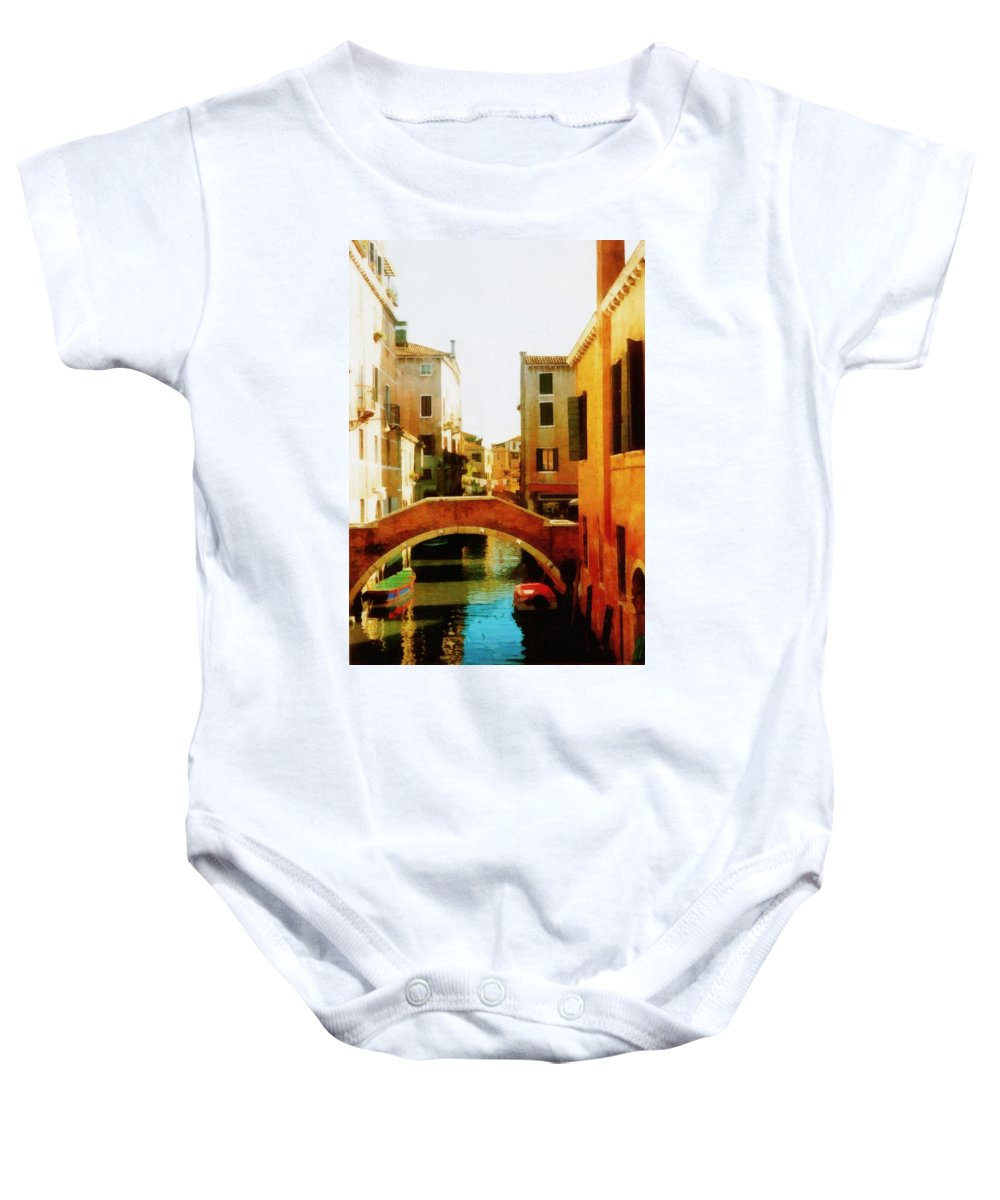 Venezia Baby Onesie featuring the photograph Venice Italy Canal With Boats And Laundry by Michelle Calkins
