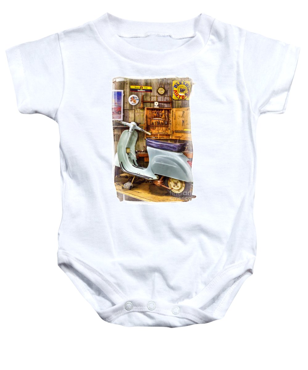 Vespa_scooter Baby Onesie featuring the photograph Vespa Scooter by Heiko Koehrer-Wagner