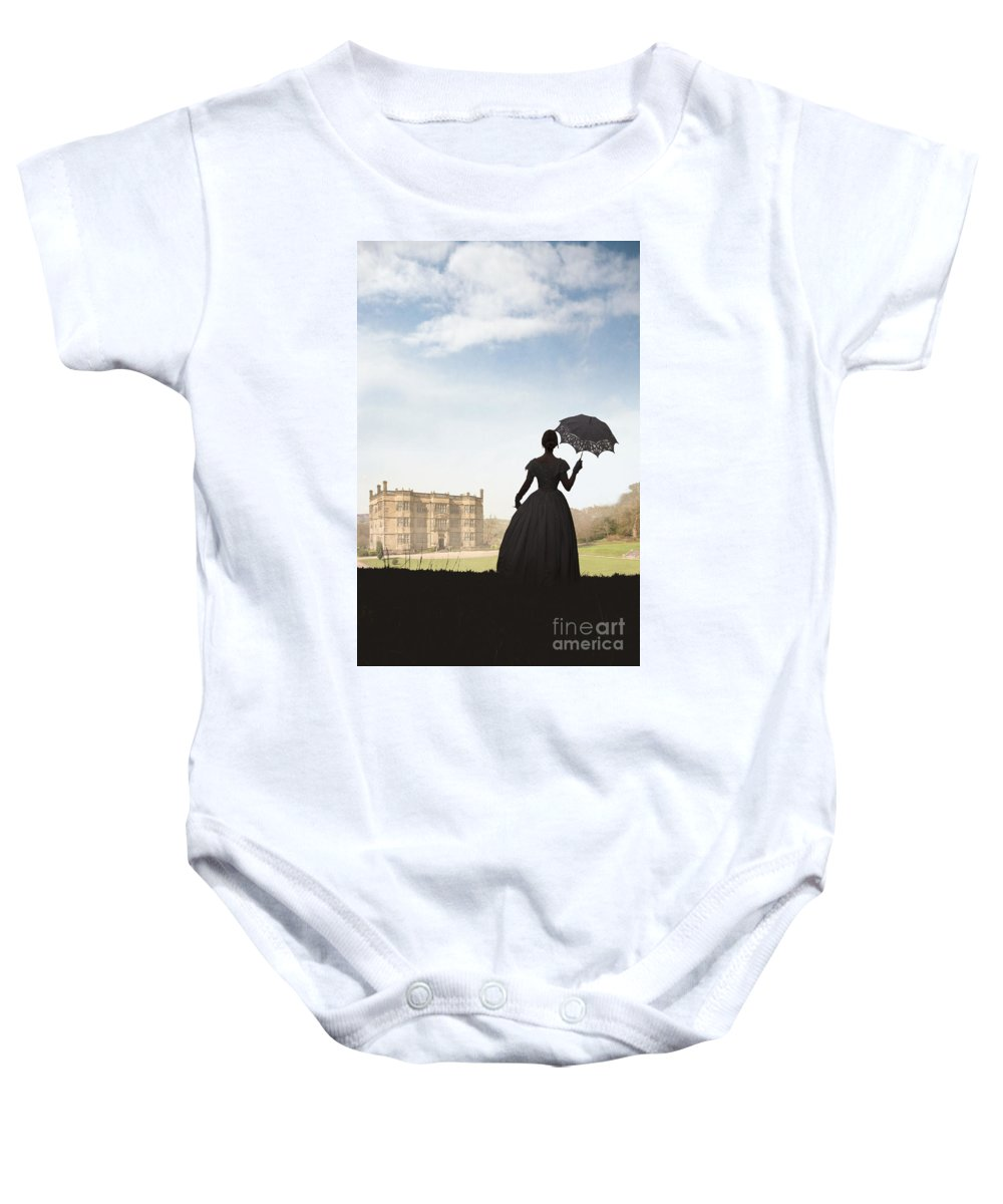 Victorian Baby Onesie featuring the photograph Victorian Woman Approaching A Country Estate by Lee Avison