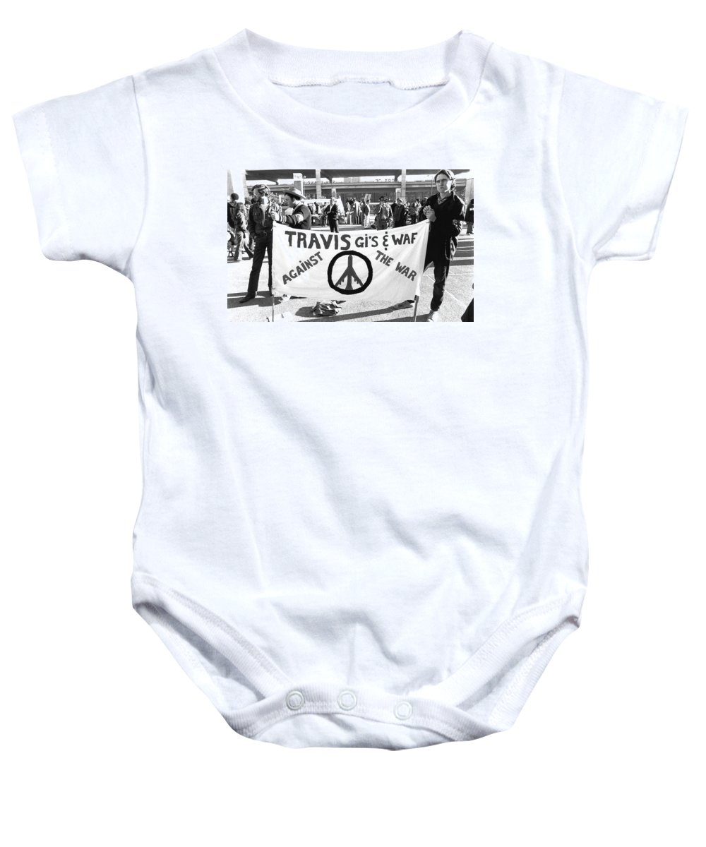 1968 Baby Onesie featuring the photograph Vietnam War Protesters by Underwood Archives Adler