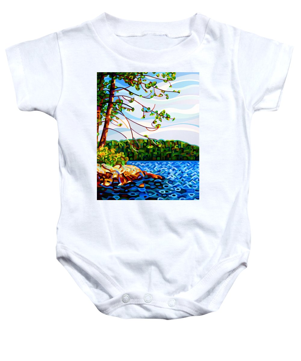 Abstract Baby Onesie featuring the painting View From Mazengah by Mandy Budan