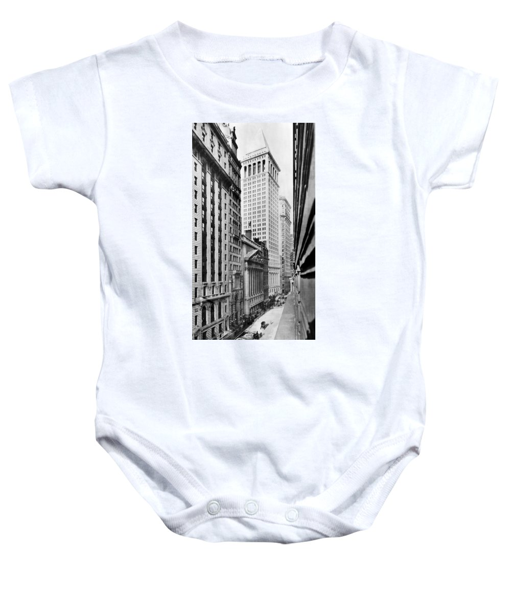 1912 Baby Onesie featuring the photograph View Of Wall Street by Irving Underhill