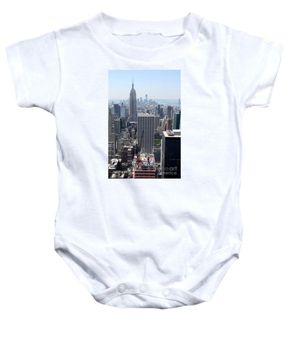 Construction Site Baby Onesie featuring the photograph View Over Manhattan I by Christiane Schulze Art And Photography