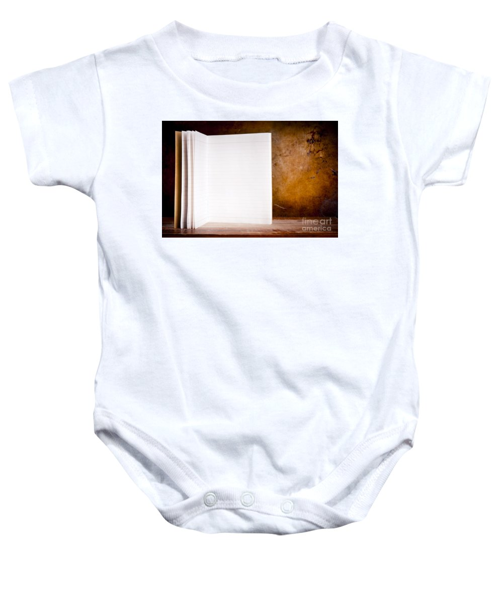 Ancient Baby Onesie featuring the photograph Vintage Blank Notepad by Tim Hester