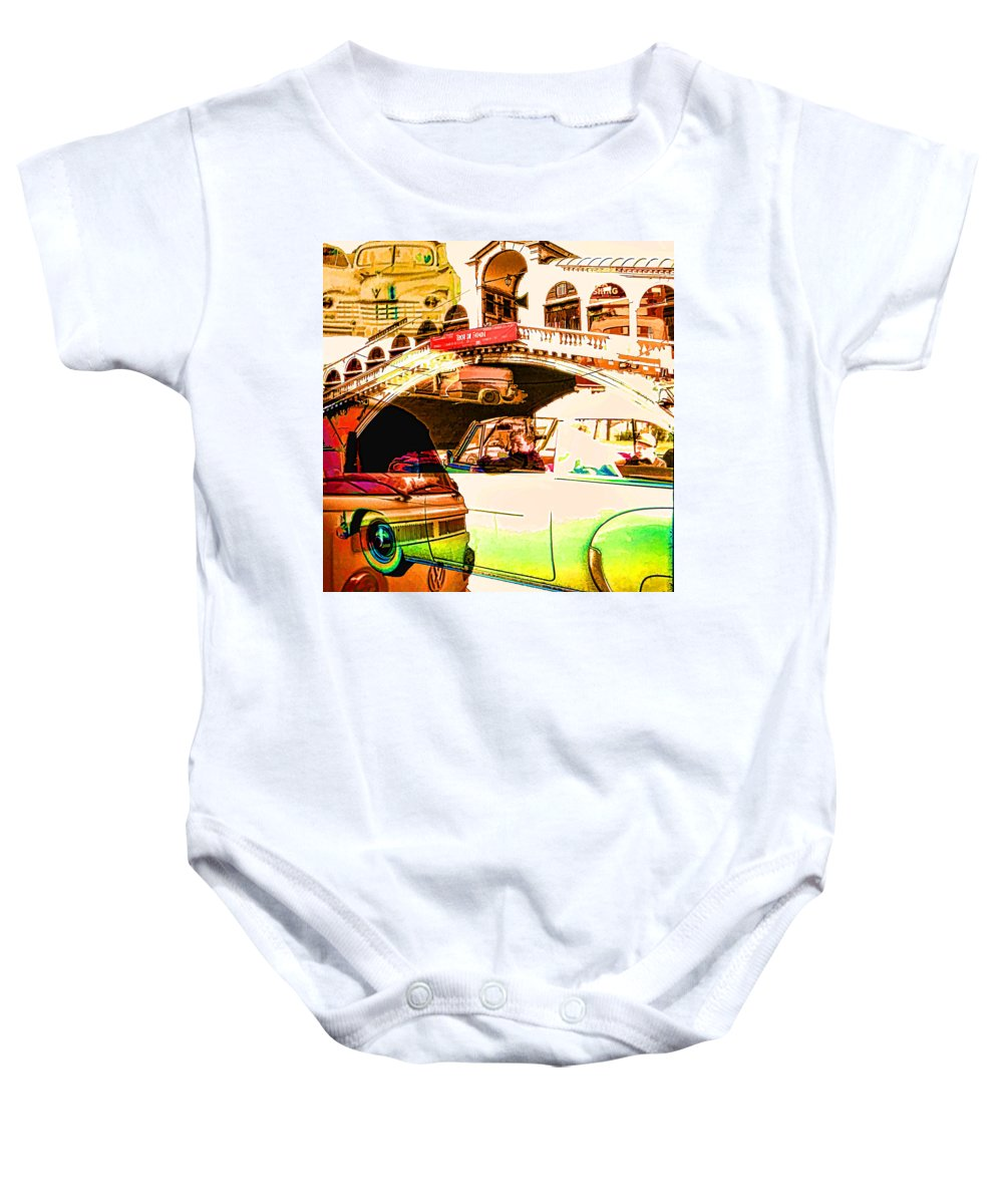 Baby Onesie featuring the digital art Vintage Cars Collage by Cathy Anderson