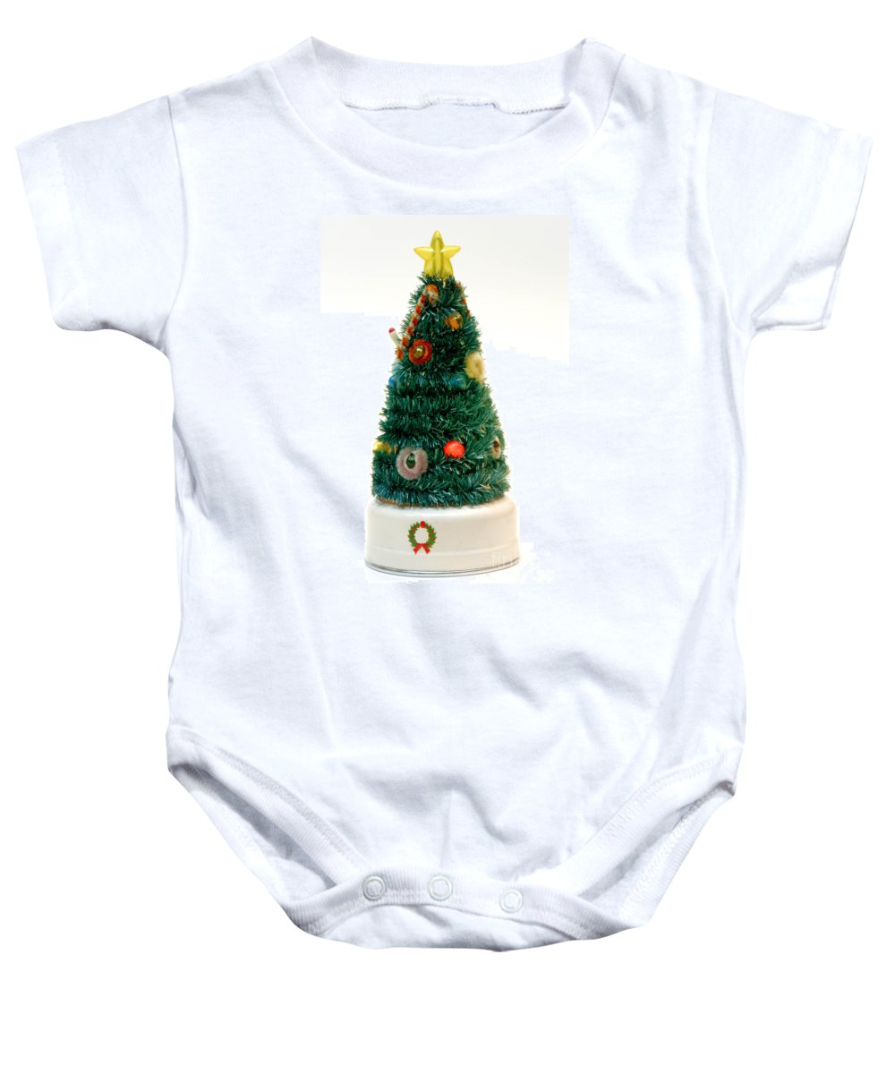 Antique Baby Onesie featuring the photograph Vintage Lighted Christmas Tree Decoration by Amy Cicconi