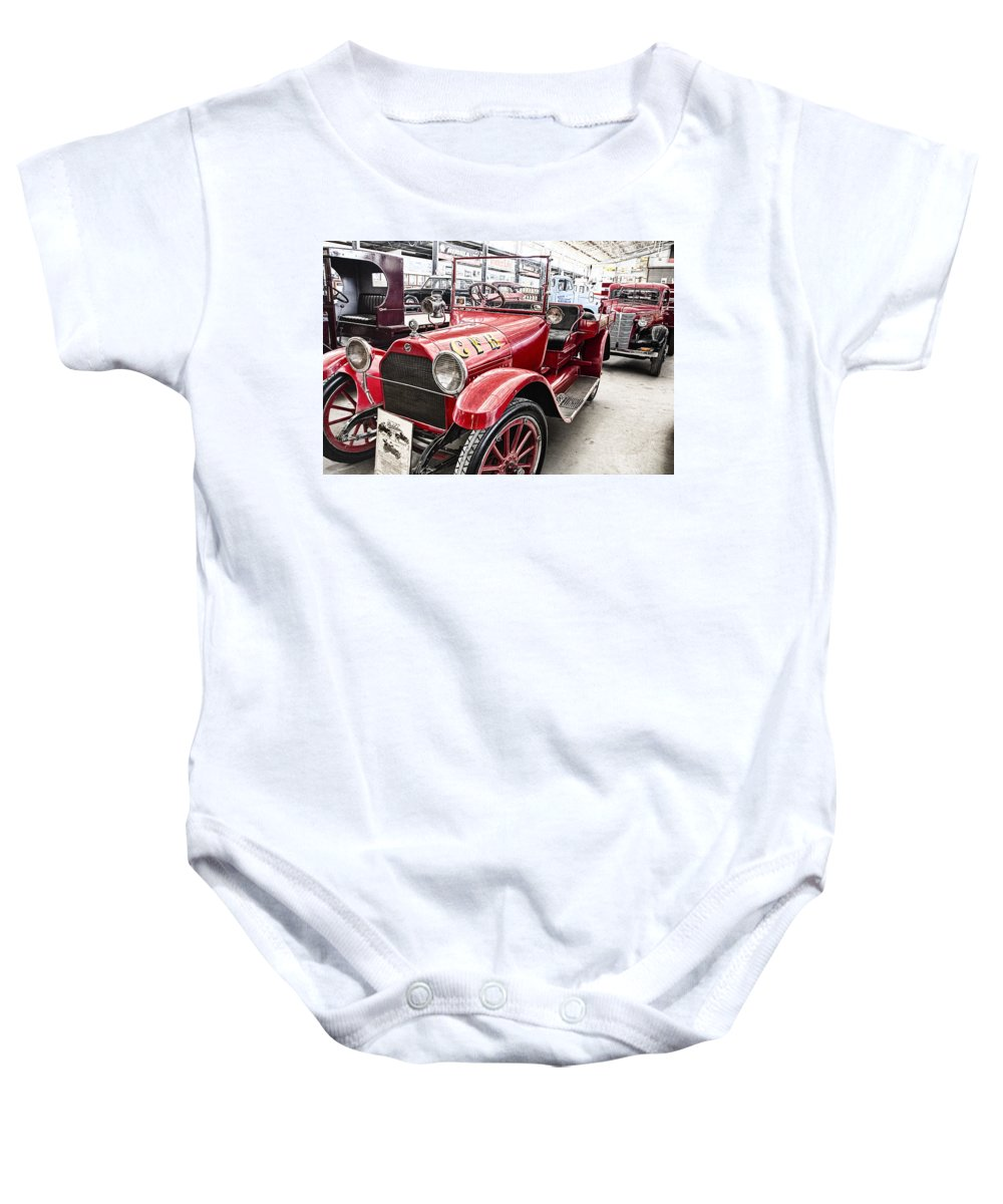 Vintage Studebaker Fire Engine Baby Onesie featuring the photograph Vintage Studebaker Fire Engine by Douglas Barnard