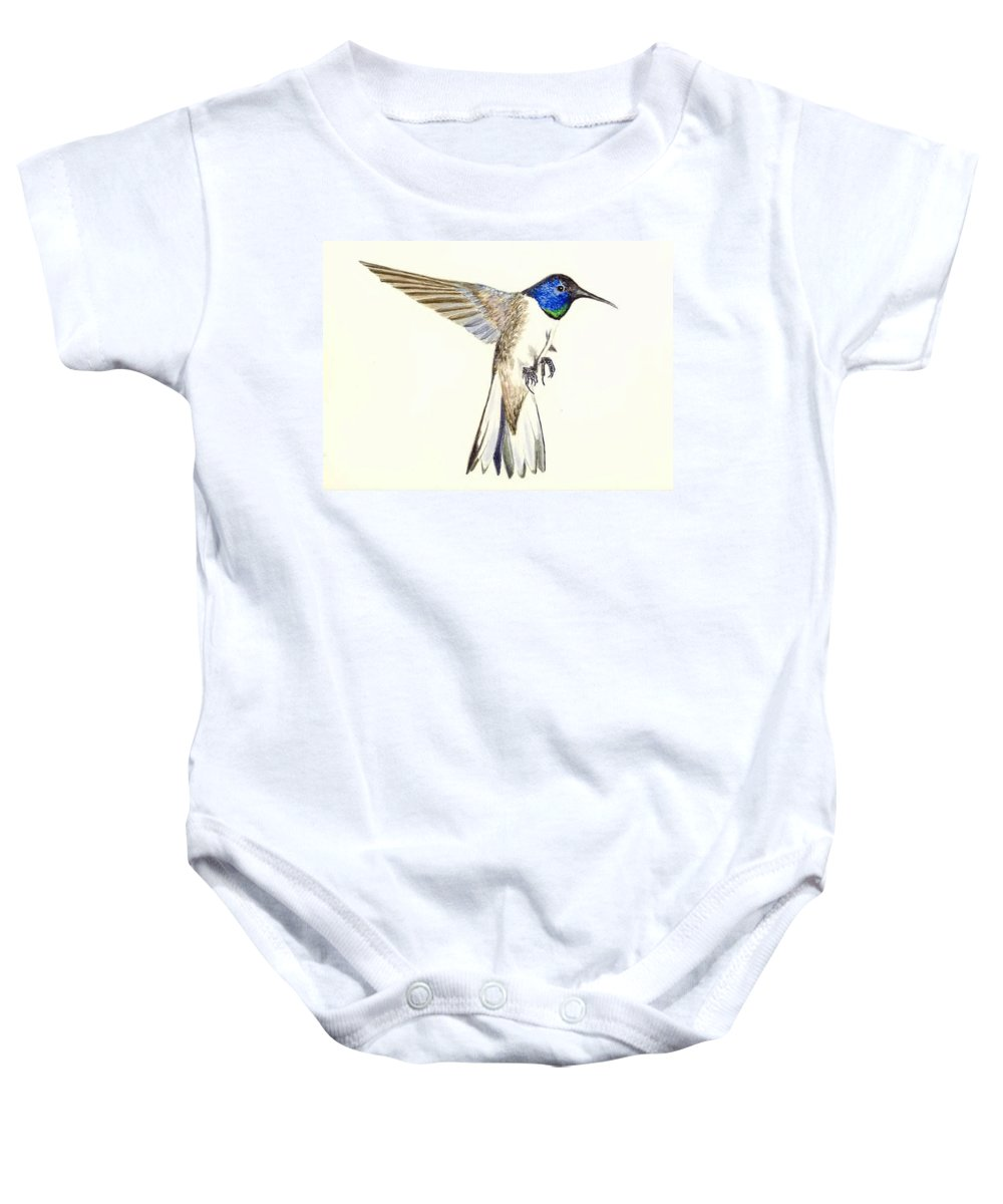 Bird Baby Onesie featuring the painting Violet Crowned Hummingbird by Michael Vigliotti