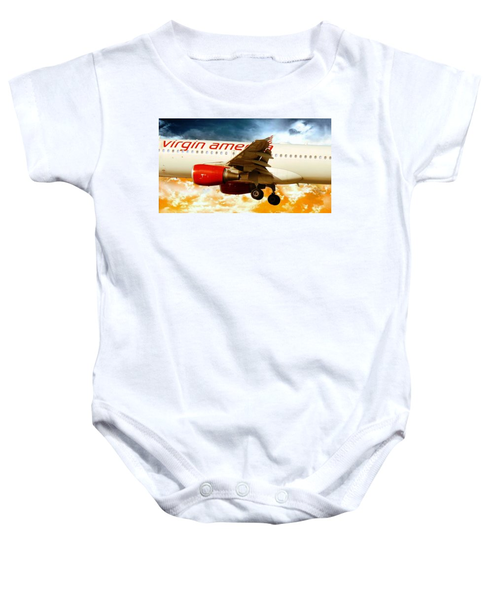 Virgin America Mach Daddy Baby Onesie featuring the photograph Virgin America A320 by Aaron Berg