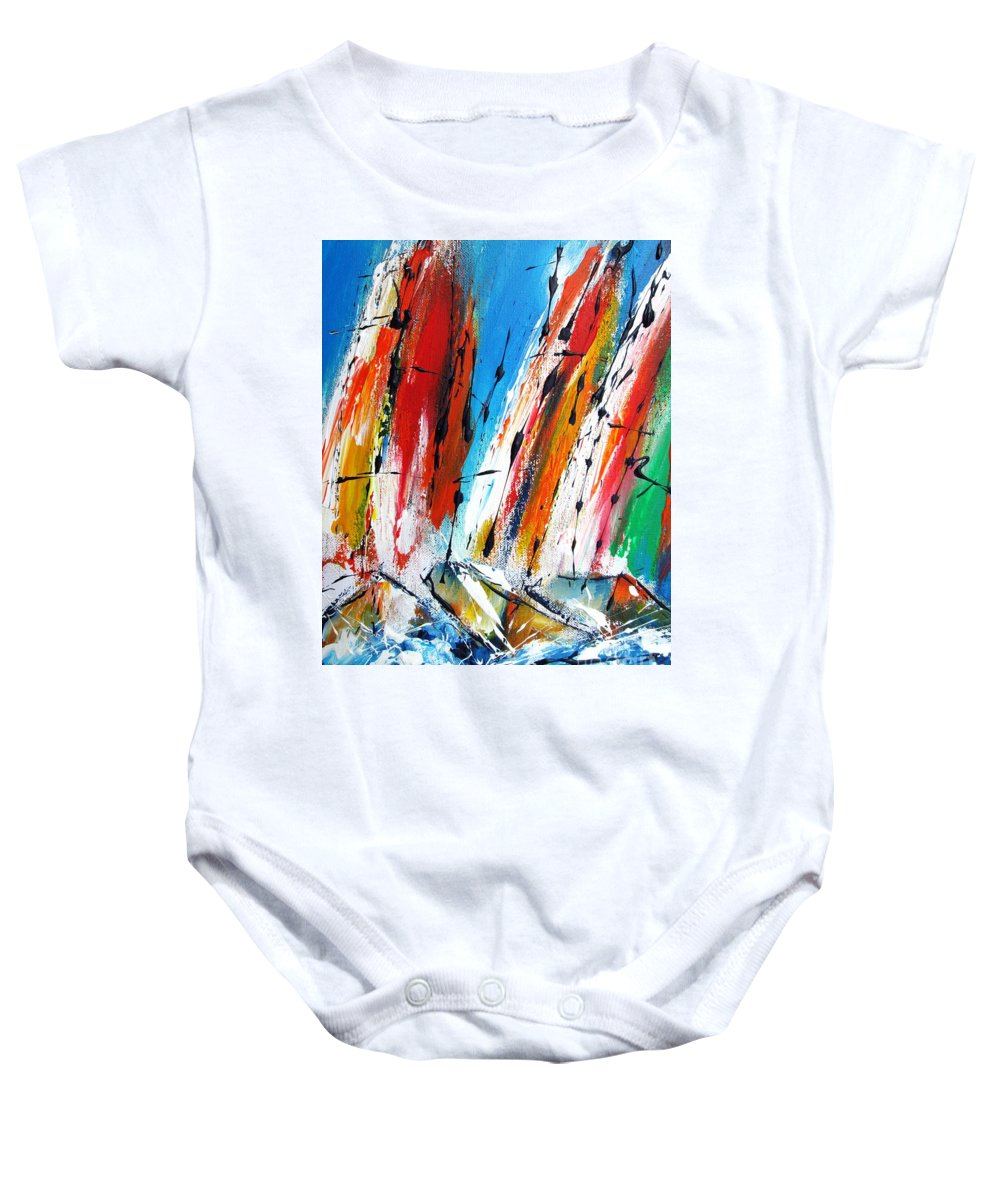 Boats Baby Onesie featuring the painting Abstract Sials - Available As A Signed And Numbered Print On Stretched Canvas See Pixi-art.com by Mary Cahalan Lee- aka PIXI