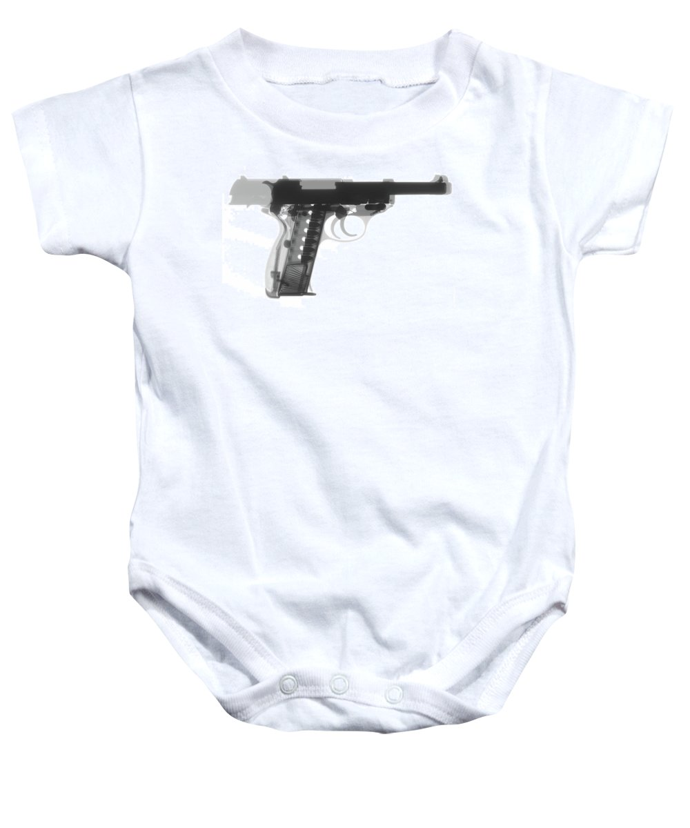 Gun Collectible Baby Onesie featuring the photograph Walther P38 X-ray Photograph by Ray Gunz