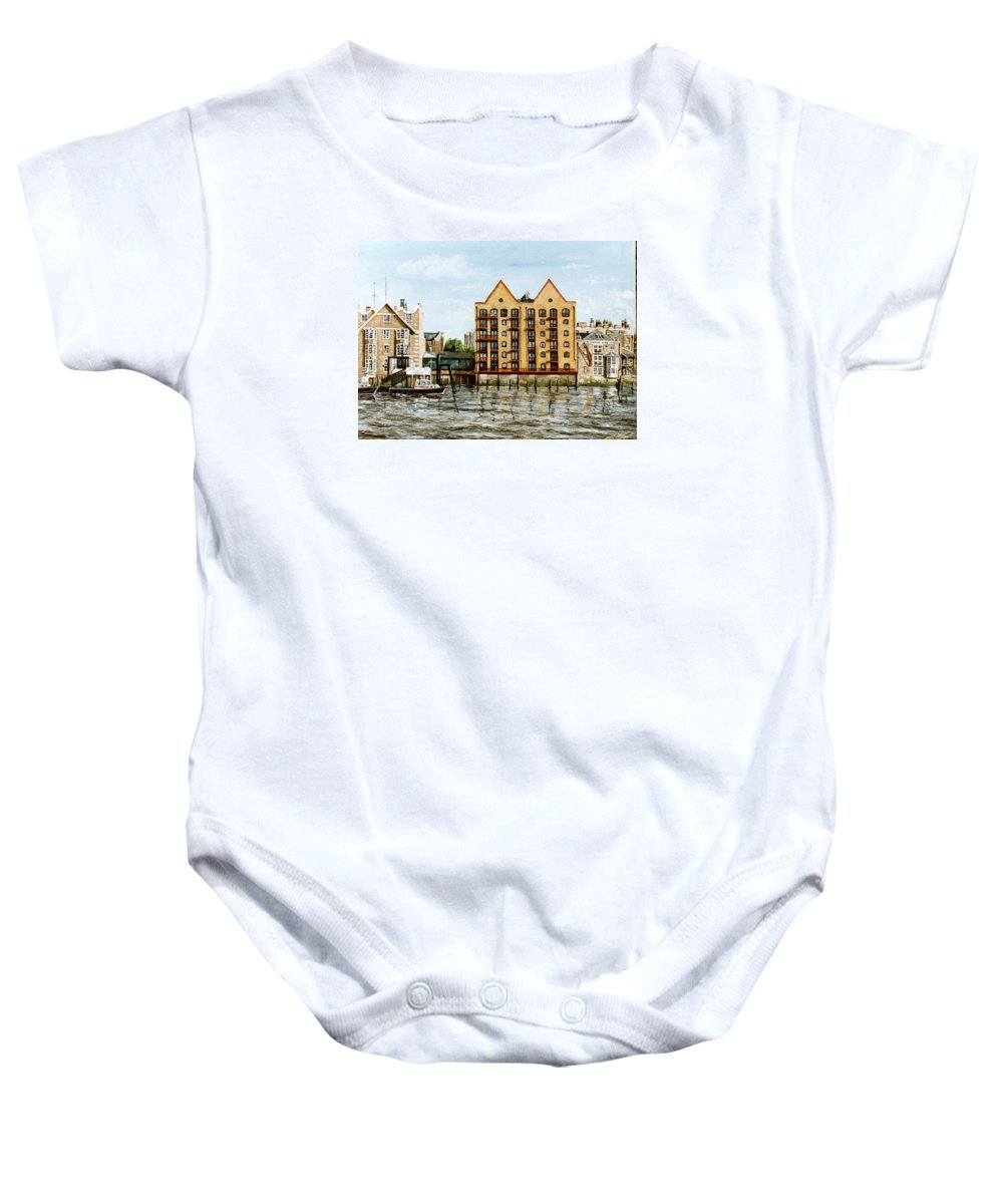Wapping Baby Onesie featuring the painting Wapping Thames Police Station And Rebuilt St Johns Wharf London by Mackenzie Moulton