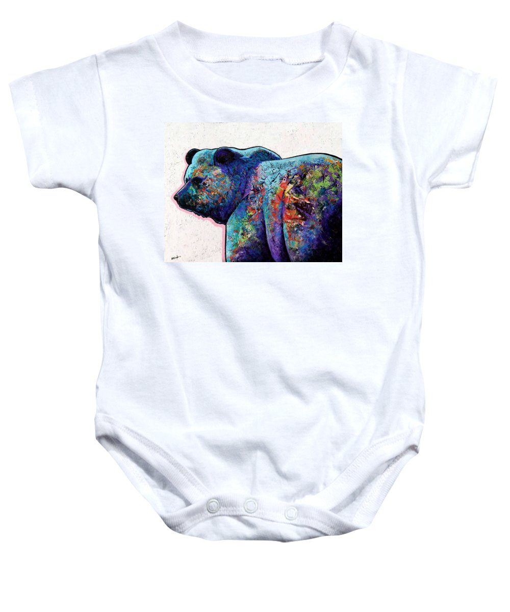 Wildlife Baby Onesie featuring the painting Watchful Eyes - Grizzly Bear by Joe Triano