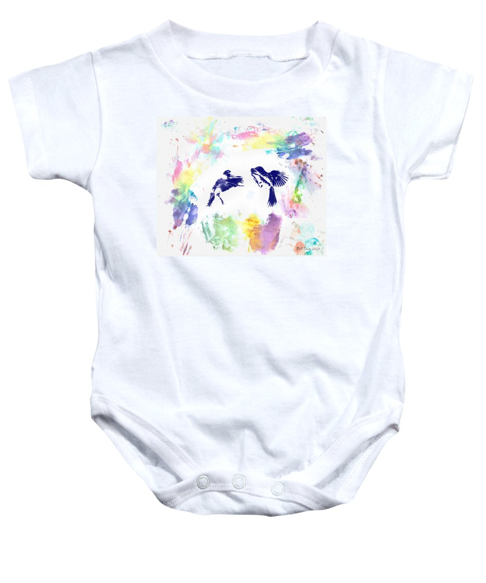 Water Baby Onesie featuring the photograph Water Color Bird Fight by Bill Cannon