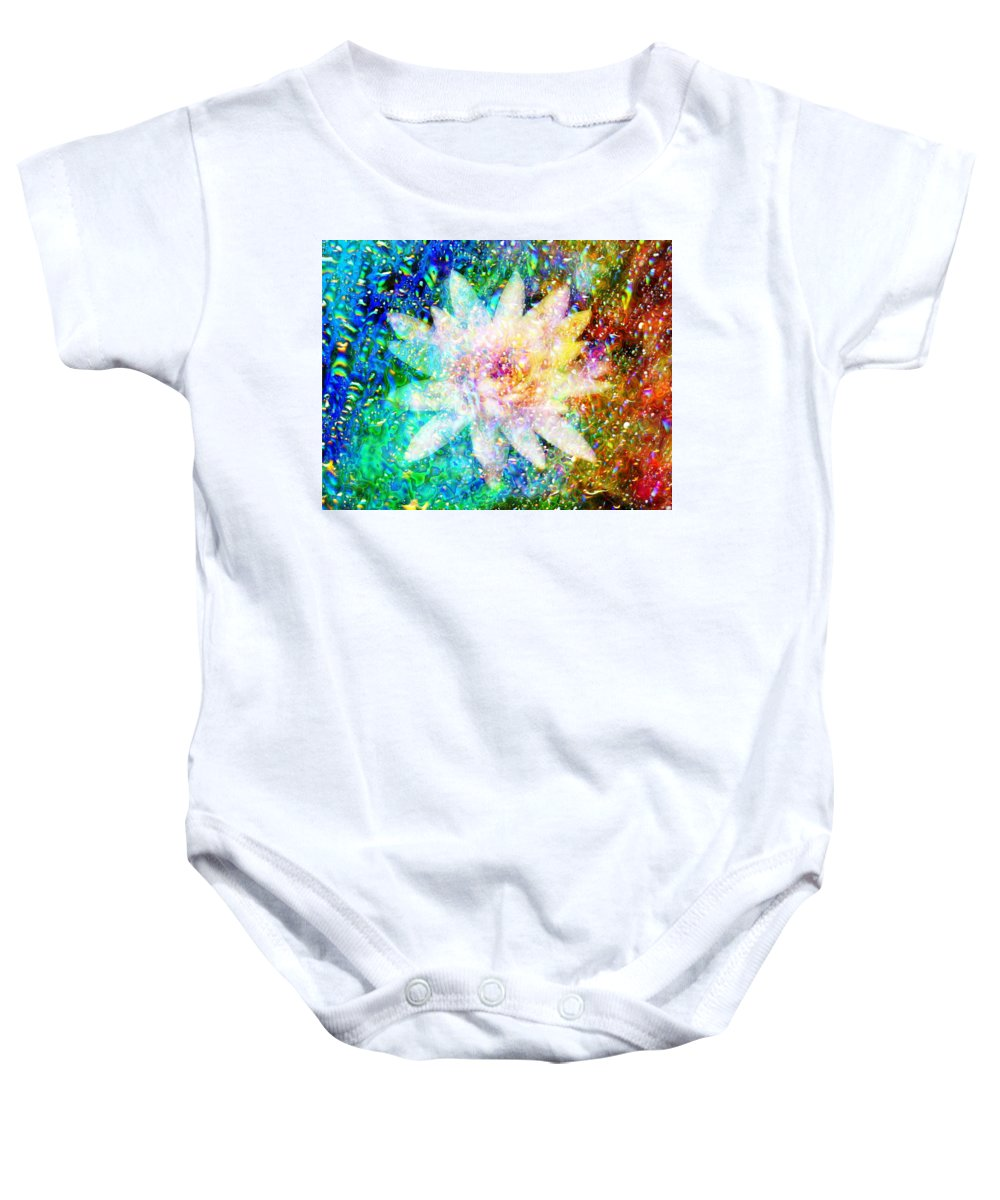 Bright Flower Baby Onesie featuring the digital art Water Lily With Iridescent Water Drops by Lilia D