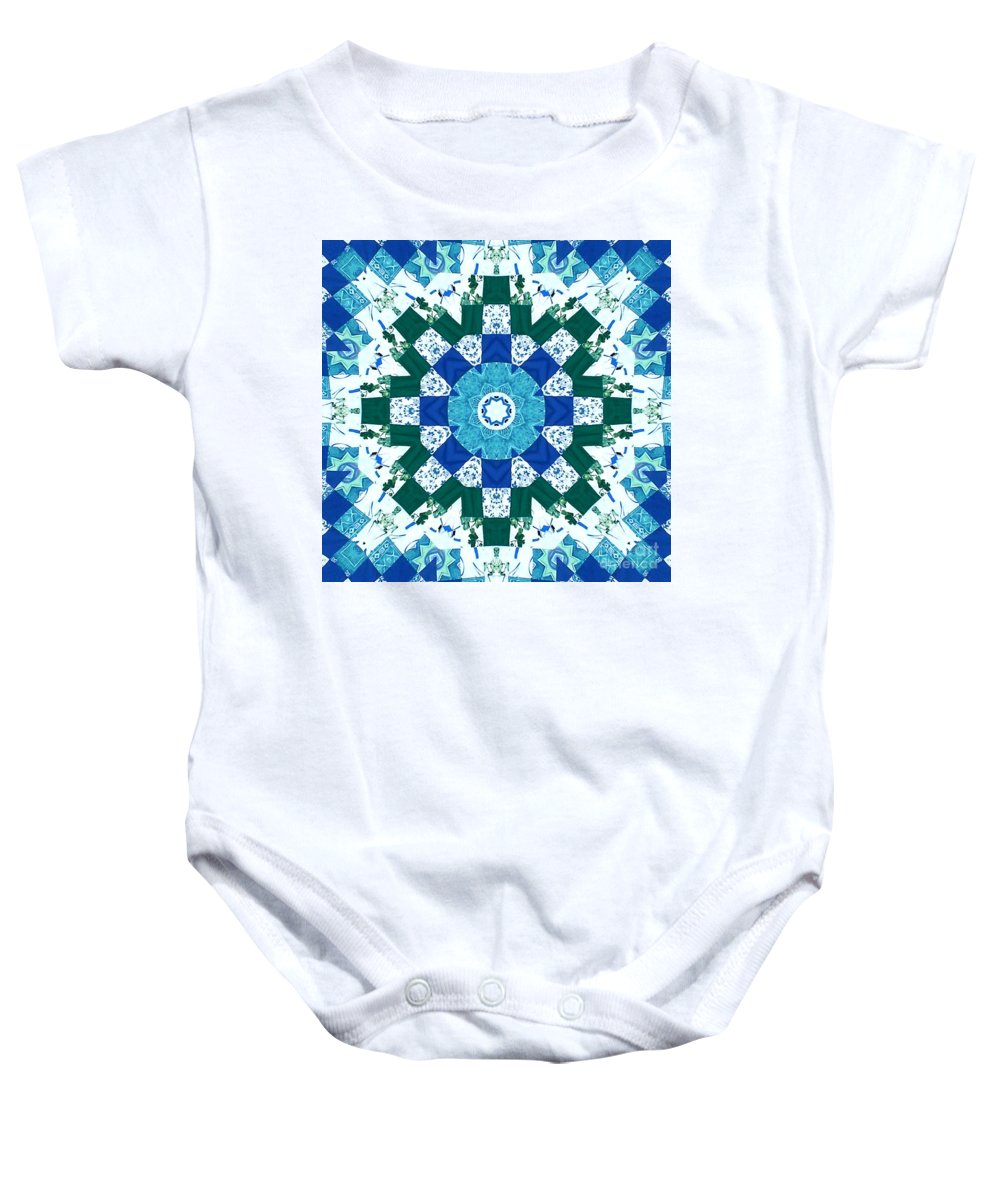 Quilts Baby Onesie featuring the tapestry - textile Watercolor Quilt by Barbara Griffin