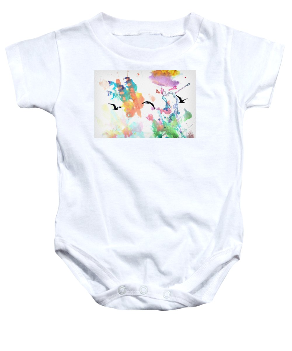 Watercolor Baby Onesie featuring the photograph Watercolor Seagulls by Bill Cannon