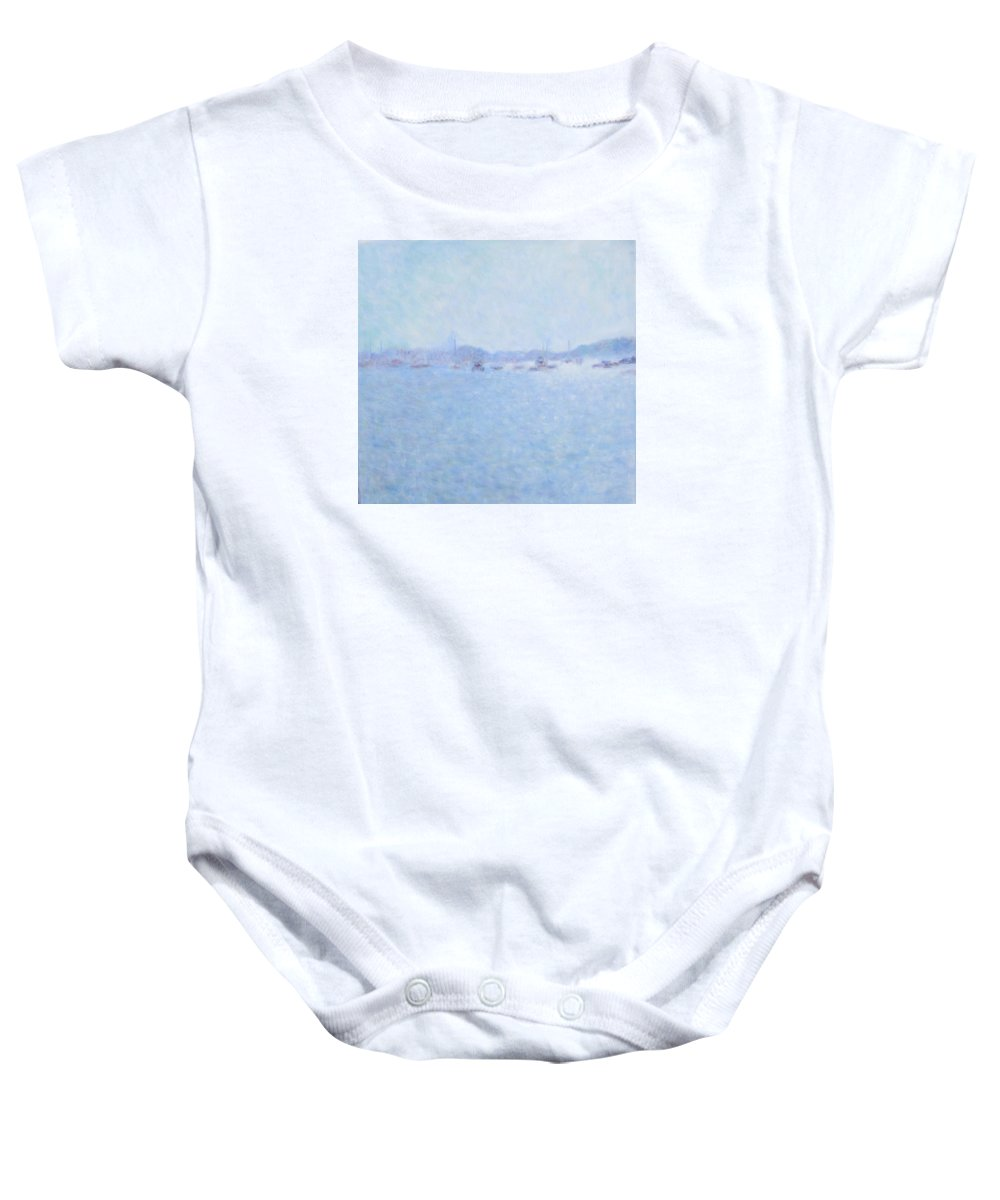 Landscape Baby Onesie featuring the painting Waterway Of Beautiful France by Glenda Crigger