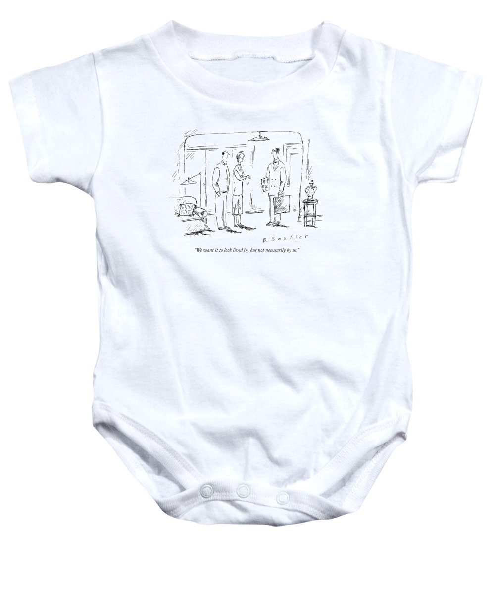 Apartments Baby Onesie featuring the drawing We Want It To Look Lived by Barbara Smaller
