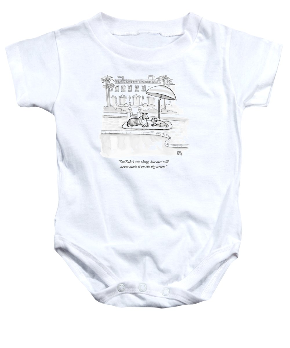 Dogs Baby Onesie featuring the drawing Wealthy Dogs Discuss Cats In Hollywood by Paul Noth