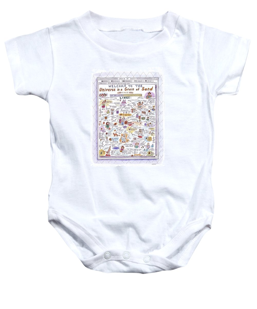 Sand Baby Onesie featuring the drawing 'welcome To The Universe In A Grain Of Sand' by Roz Chast