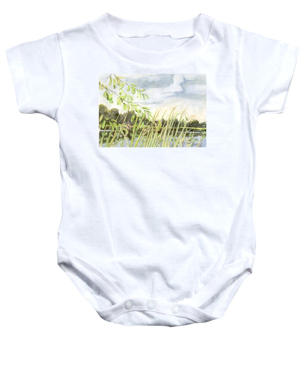 Acrylic Prints; Canvas Prints; Digital; Digital Art; Framed Prints; Greeting Cards; Posters; Prints; Day; Daylight; Daytime; Canada; Napanee; Ontario; Nature; Outdoor; Outdoors; Outside; Country; Rural; Suburban; Summer Baby Onesie featuring the painting West Bay Napanee River by John Herzog