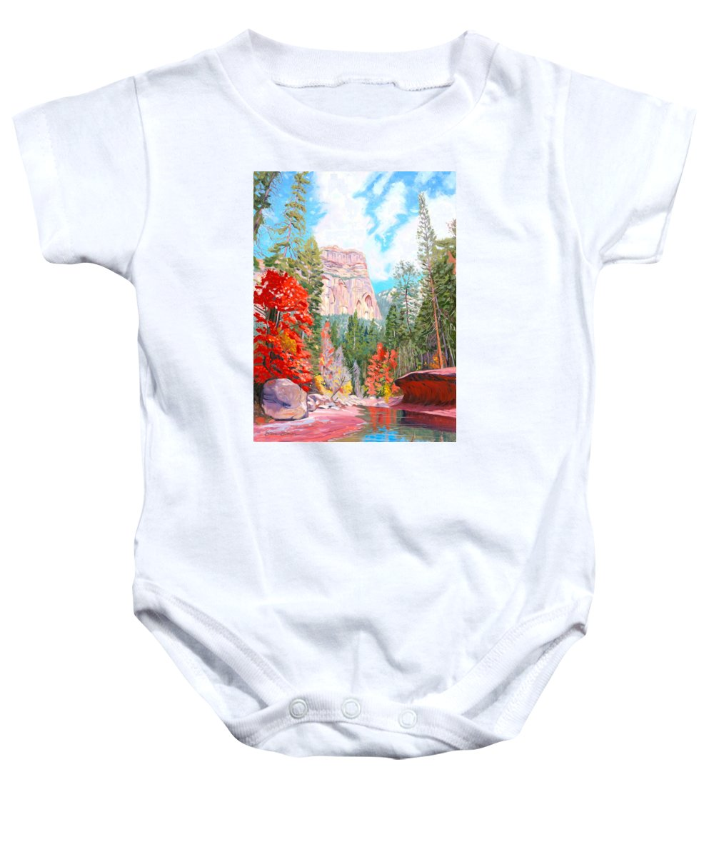 Sedona Baby Onesie featuring the painting West Fork - Sedona by Steve Simon