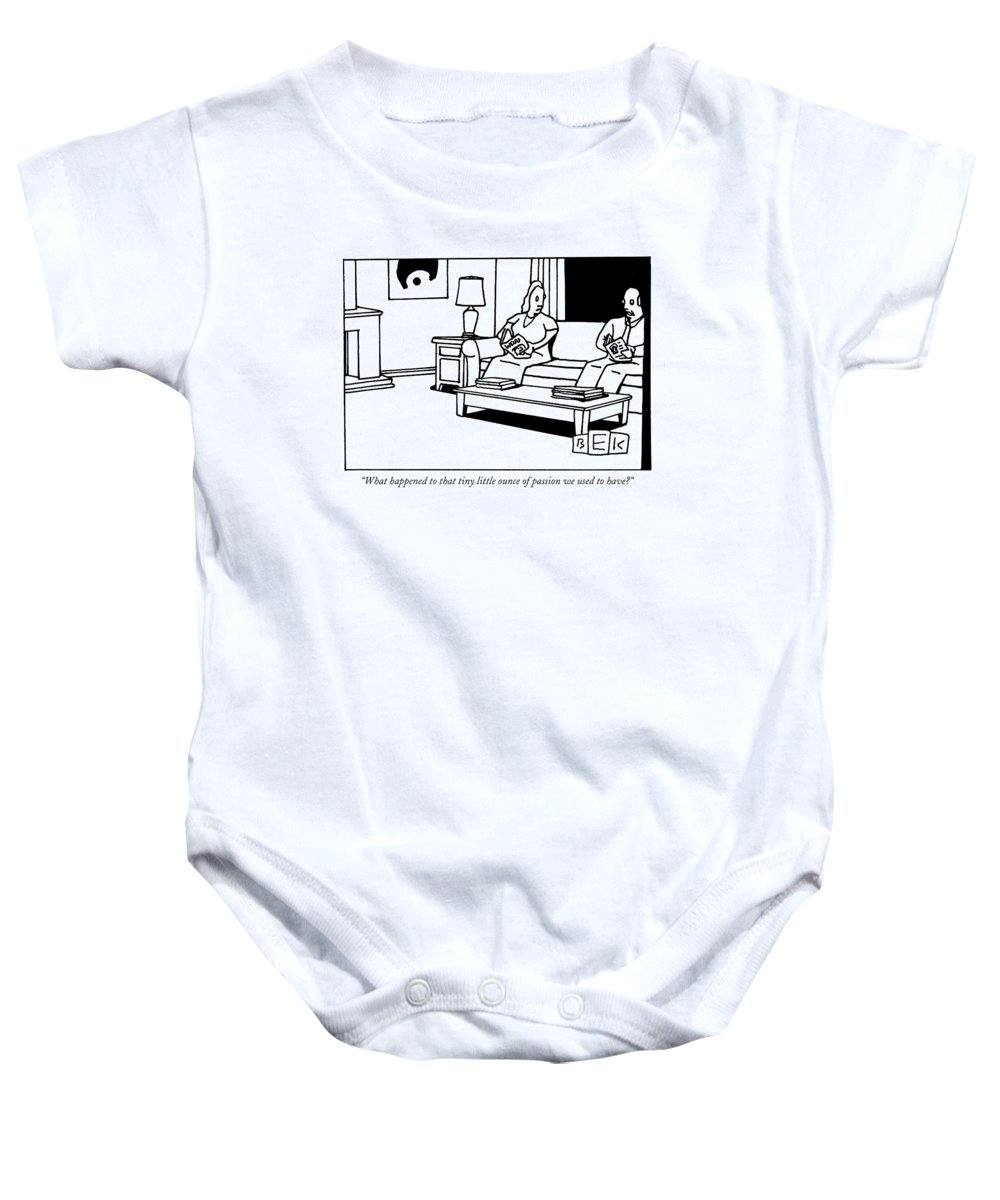 Relationships Problems Word Play Marriage Motivation Baby Onesie featuring the drawing What Happened To That Tiny Little Ounce by Bruce Eric Kaplan
