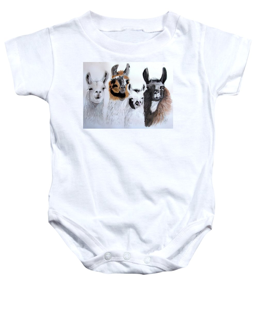Animal Prints Baby Onesie featuring the painting What Is Up by Joette Snyder