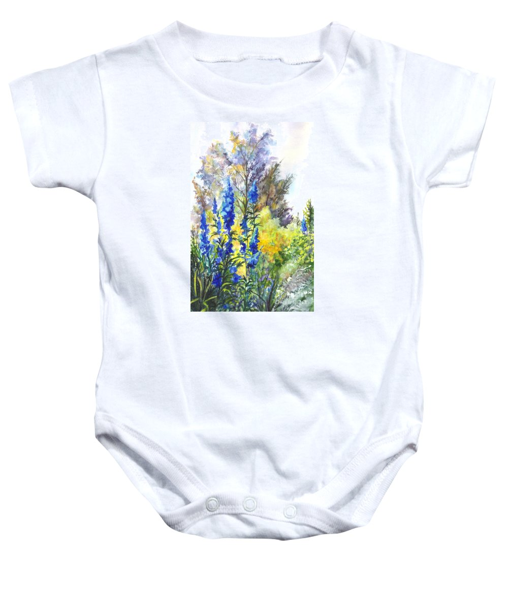 Floral Baby Onesie featuring the painting Where The Delphinium Blooms by Carol Wisniewski