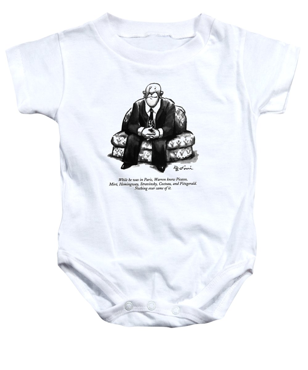 (a Rather Unhappy-looking Man Sits On A Sofa With His Hands Folded) Psychology Baby Onesie featuring the drawing While He Was In Paris by Eldon Dedini