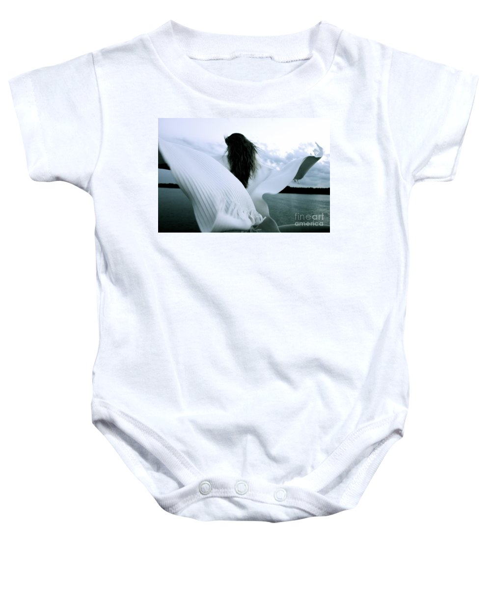Angel Baby Onesie featuring the photograph White Angel by Jacqueline Athmann