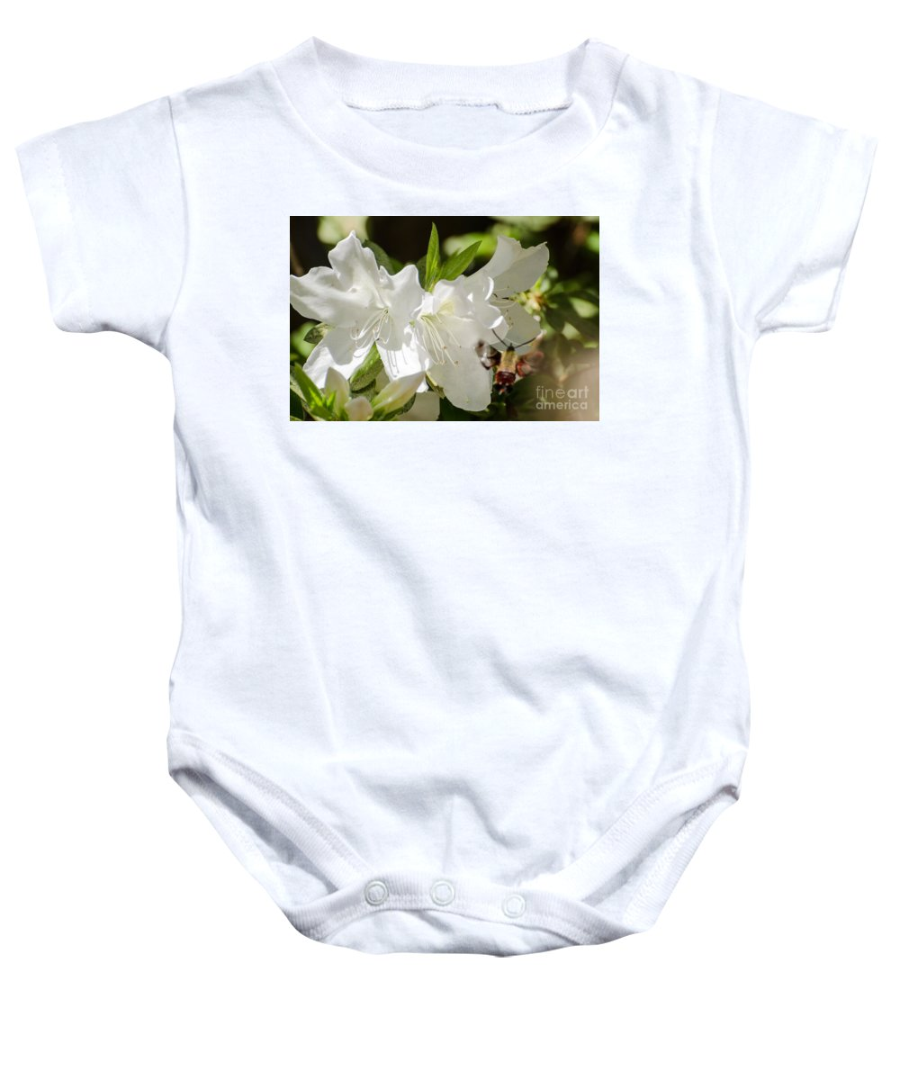 Flower Baby Onesie featuring the photograph White Azalea With Friend by Donna Brown